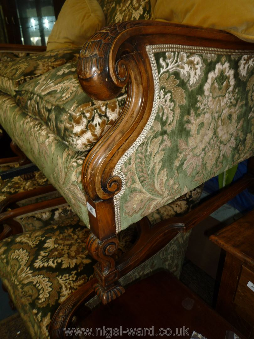 A most elegant Walnut and Mahogany framed three piece Lounge Suite, - Image 2 of 4