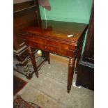 A most unusual flame Mahogany flap-over Card Table having a shaped green baize,