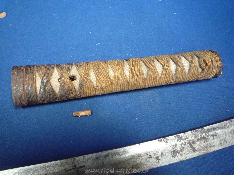 A remarkably sharp edged Samurai Sword/Katana, the blade rust marked, - Image 9 of 22