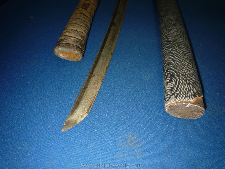 A remarkably sharp edged Samurai Sword/Katana, the blade rust marked, - Image 12 of 22