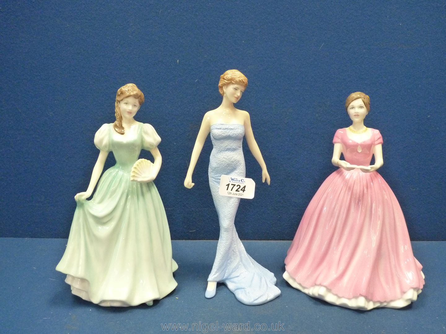 Three Royal Doulton figures - Stephanie, Diana Princess of Wales and Sweet Memories.