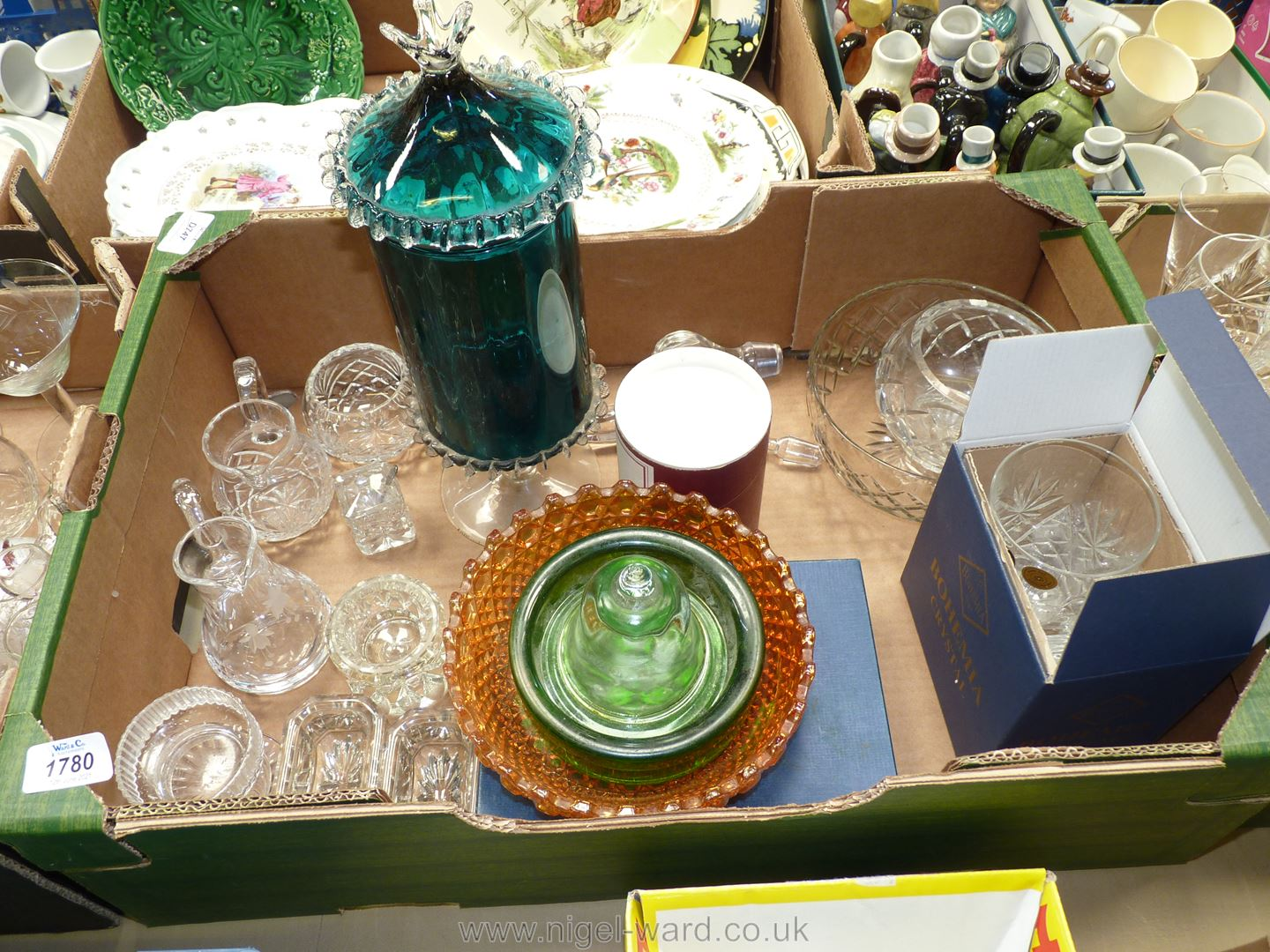 A quantity of cut and coloured glass including Bohemia, tankard, dishes, salts, jugs, stoppers,