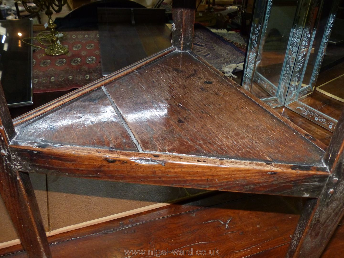 A Georgian Oak peg-joined Cricket Table standing on three tapering legs united by a triangular - Image 5 of 10