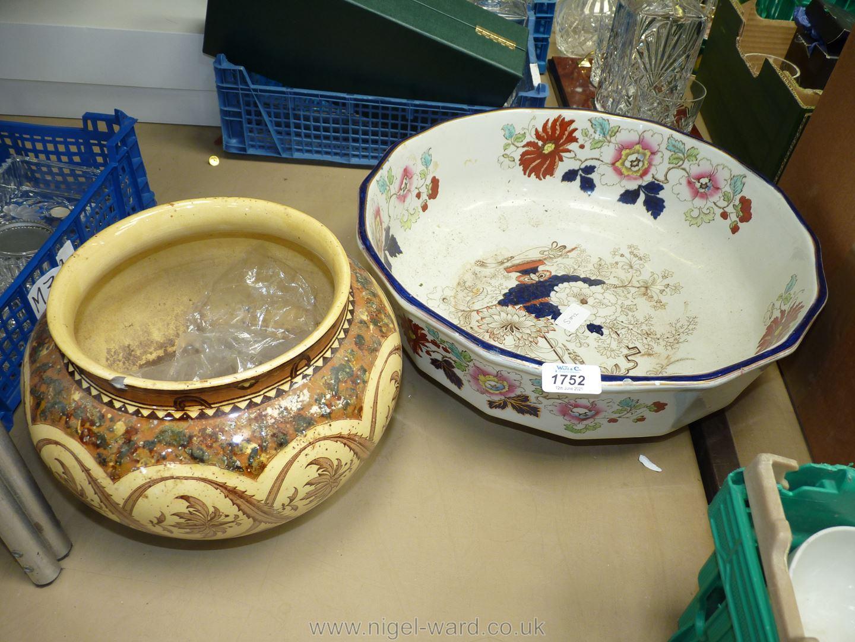 "A large Mason's wash bowl, blue rimmed, 15 1/2"" diameter, plus a brown/cream plant pot, some damage, - Image 2 of 2"