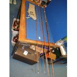 A split cane 14' fishing rod by J.S.