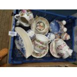A small quantity of china including Crown Staffordshire cruet set, Queen Anne cups and saucers,