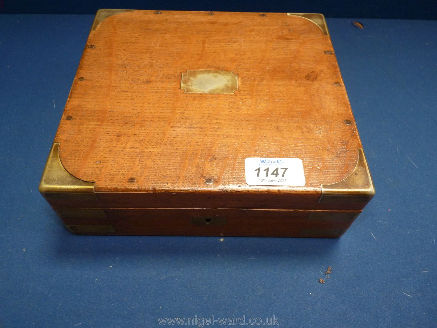 A brass cornered cased set of Drawing instruments with bone handles and lower tier with rulers, etc. - Image 2 of 2