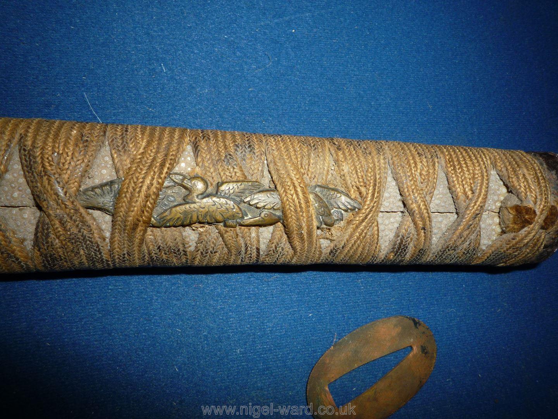 A remarkably sharp edged Samurai Sword/Katana, the blade rust marked, - Image 15 of 22