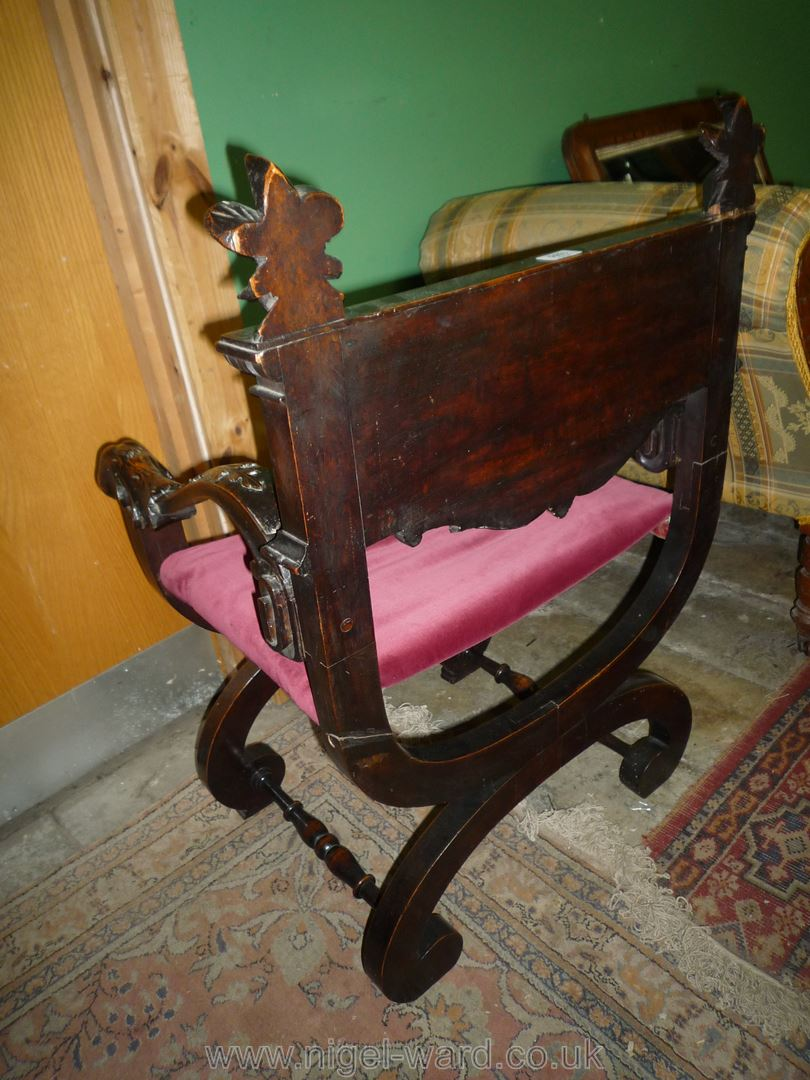 An elegant Mahogany 'X' framed open armed Armchair having carved and blind fretworked decoration, - Image 5 of 5