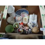 A quantity of china including novelty duck, salt & pepper, nursery cups and beakers (some a/f),