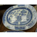 A large blue and white Staffordshire chinoiserie meat Plate,