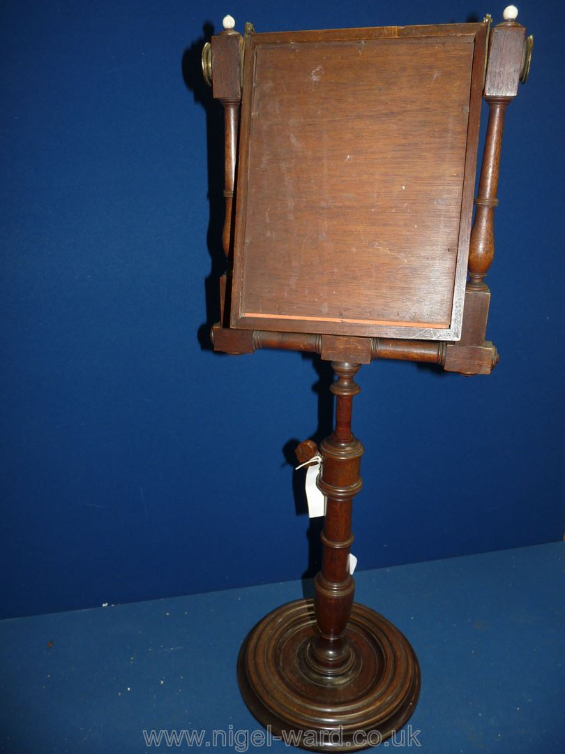 A George III Mahogany Zograscope with diced stringing to the border and fold over viewing glass,