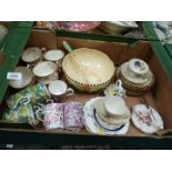 A box of china including John Maddock & Sons 'Sunset ware' bowl and matching ladle a/f,