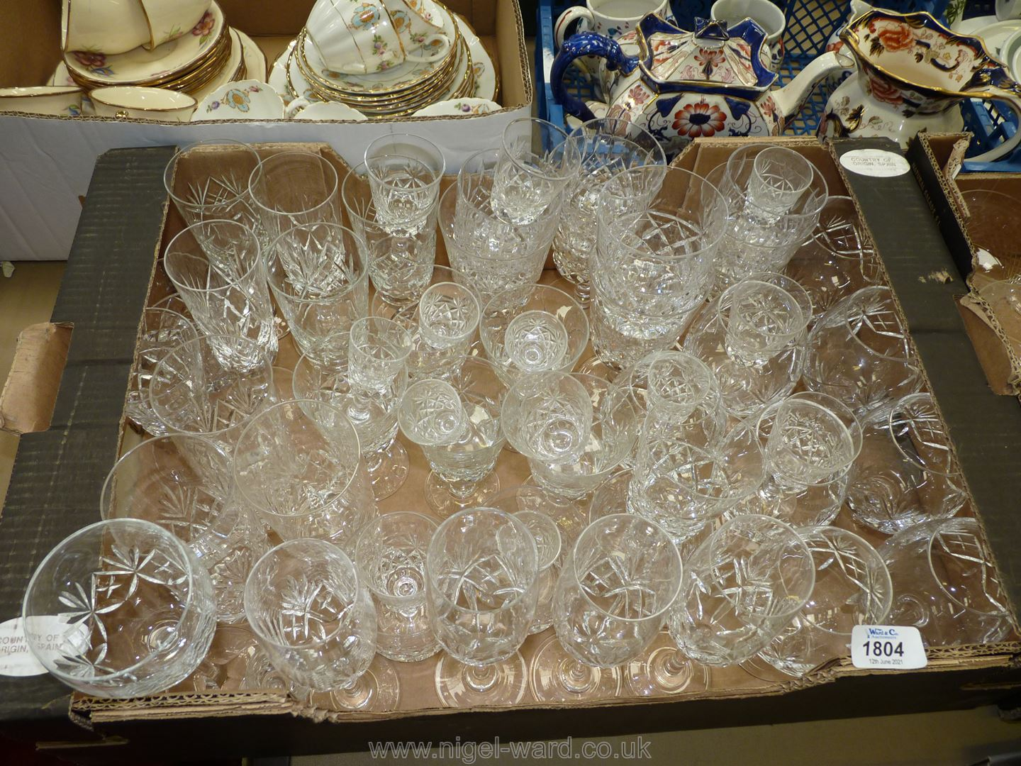 A good quantity of cut glasses including Royal Brierley brandy glasses and champagne flutes,
