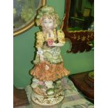 A large Capo di Monte figure of a young girl, 26'' tall.