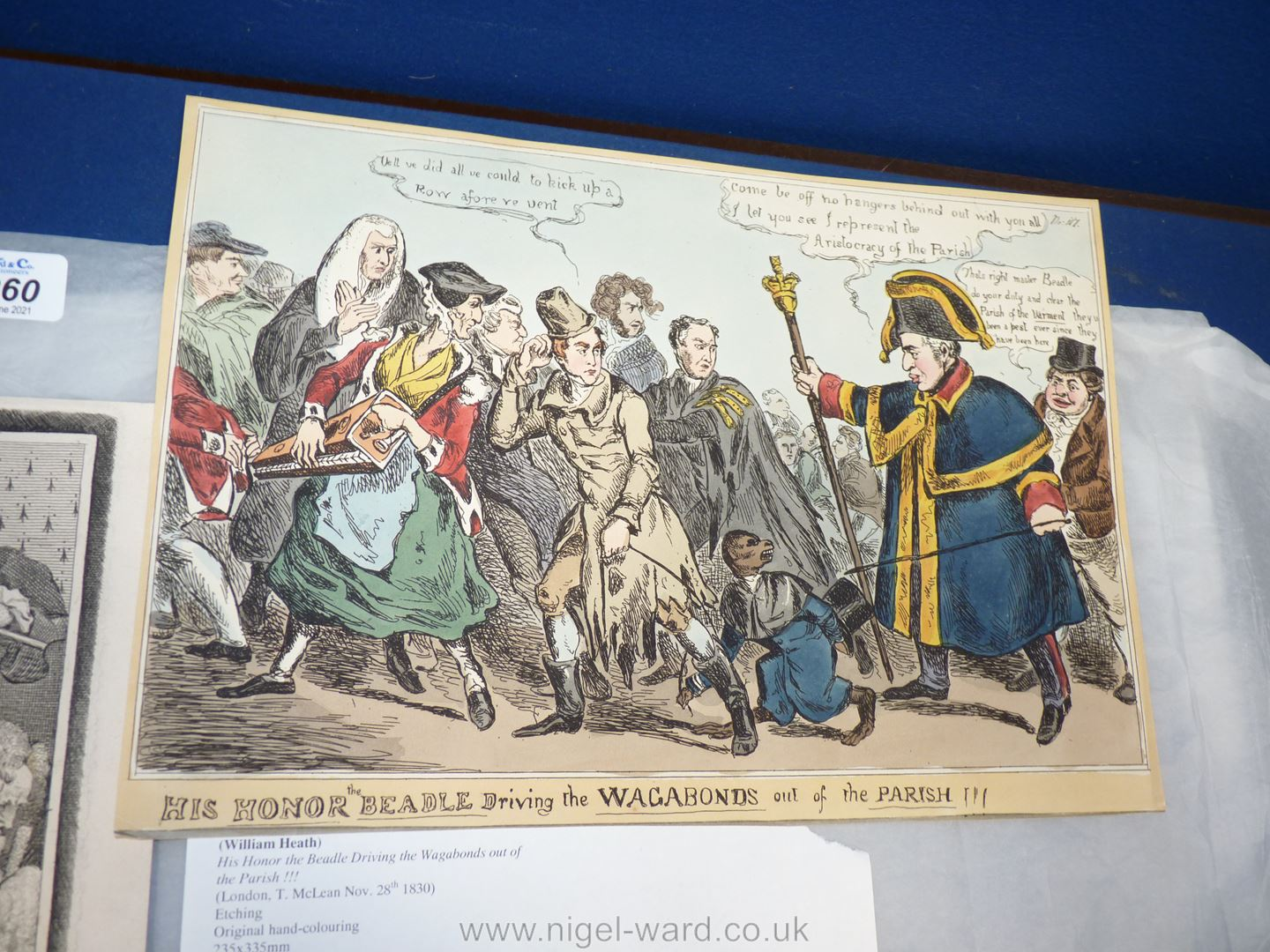A scarce satirical engraving by William Heath (1830) 'His Honor the Beadle Driving the Vagabonds - Image 2 of 4