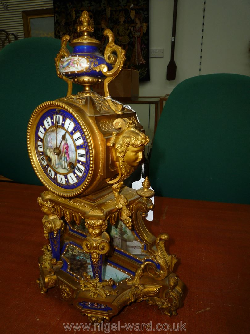 An exceptionally attractive French Ormolu and porcelain mantle Clock the two-train movement by - Image 5 of 35