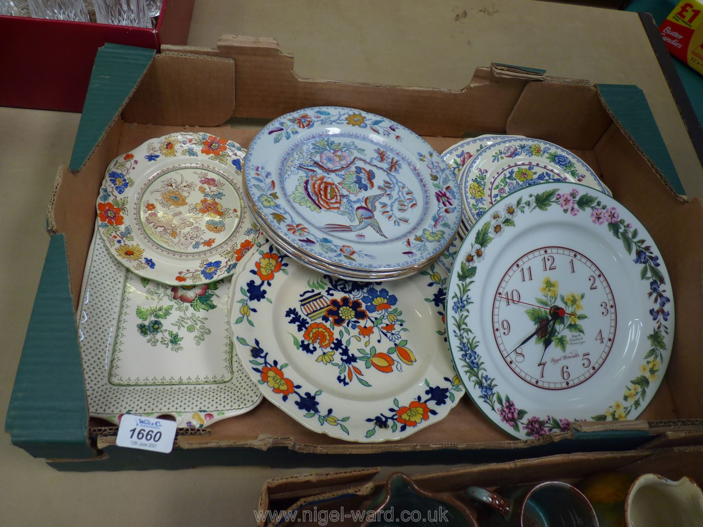 A quantity of various Masons Plates and a Royal Worcester herb wall Clock.