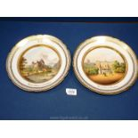 A fine pair of monogrammed Paris porcelain topographical plates, circa 1840-50,
