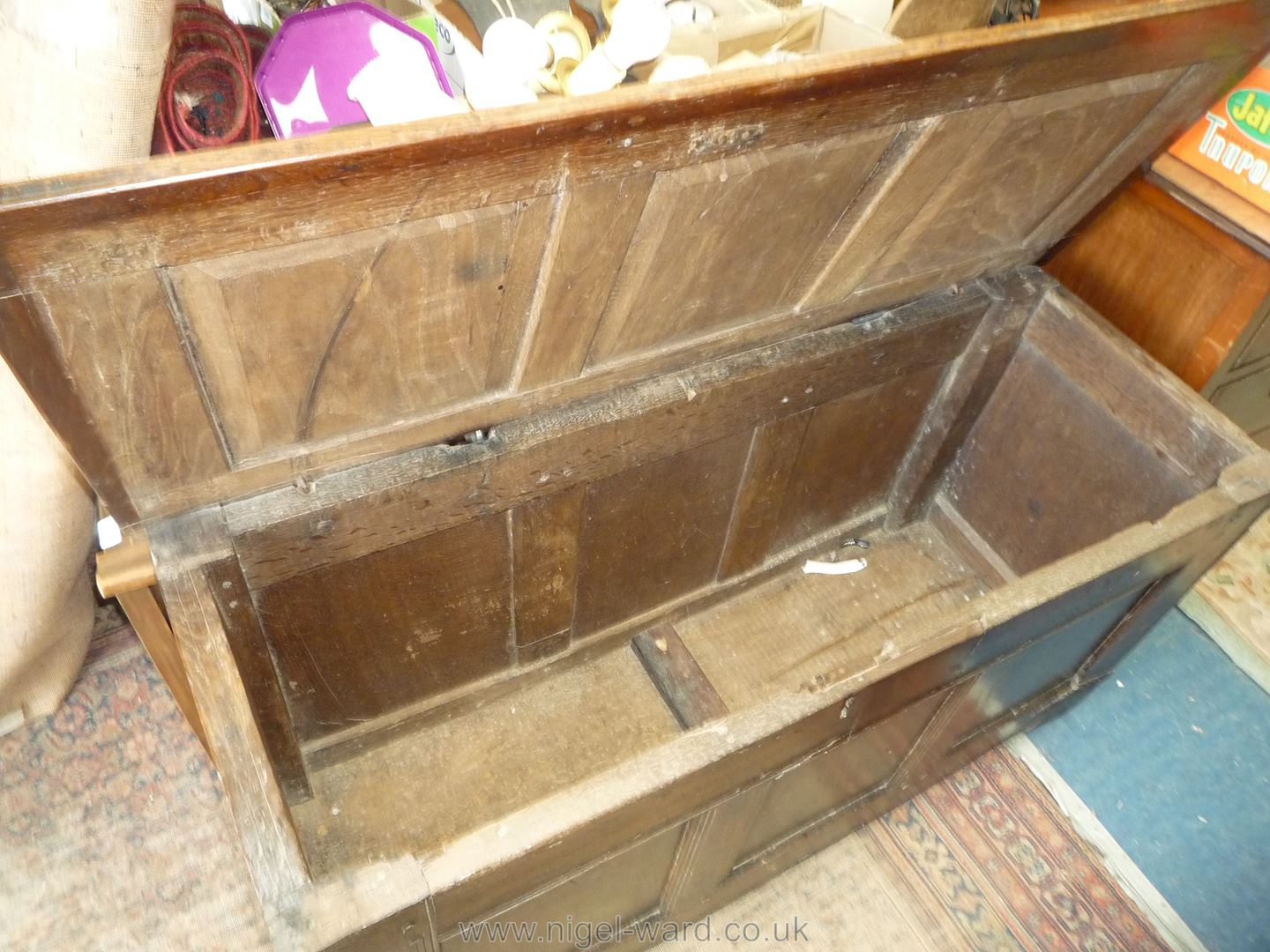 A delightfully plain peg-joined Oak three panel Coffer with scratch-moulded details and old metal - Image 4 of 4