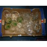 A large quantity of glass including etched glasses,