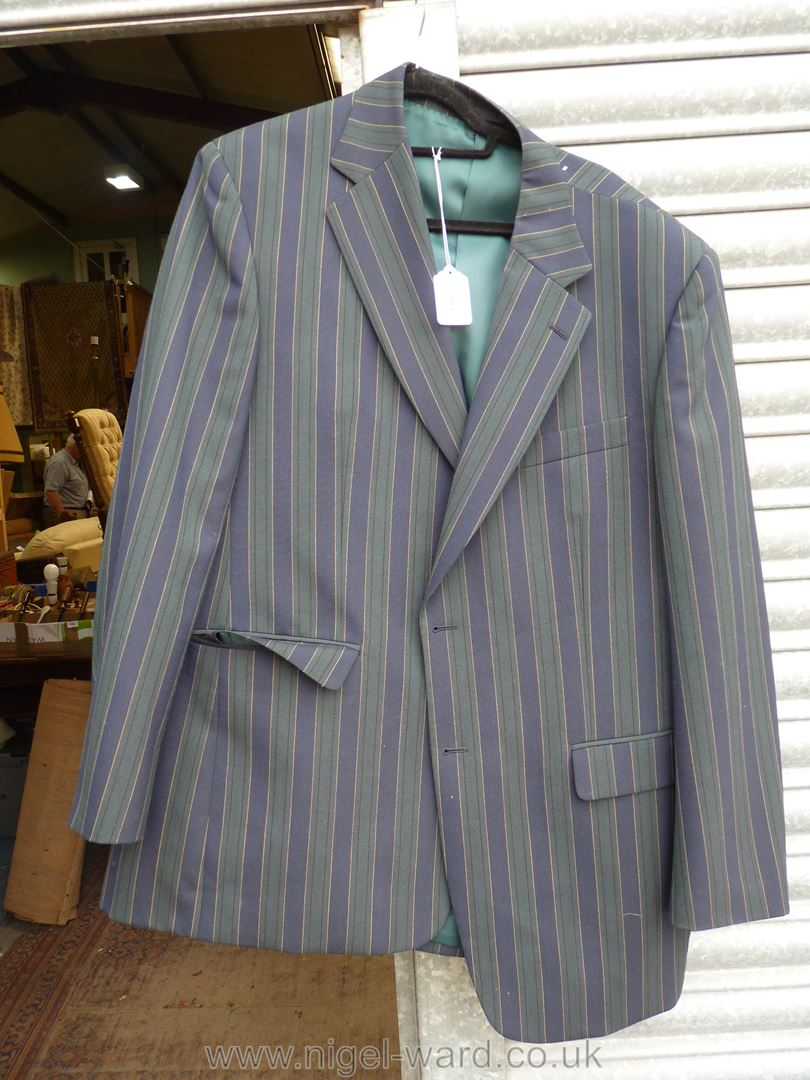 A gent's Brook navy and green stripe Blazer with green silk lining with navy enamel buttons,