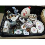 A quantity of pin dishes, lidded pots including Royal Crown Derby,