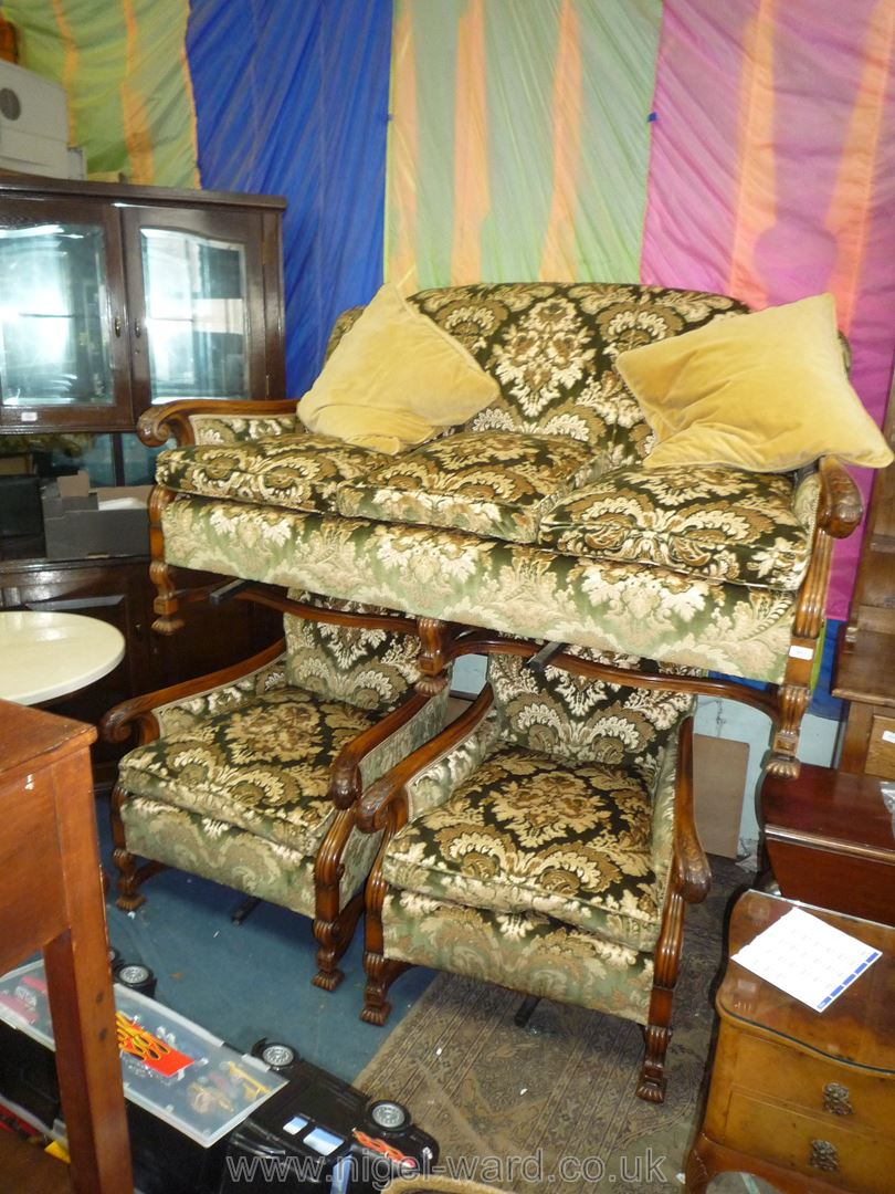 A most elegant Walnut and Mahogany framed three piece Lounge Suite,
