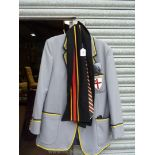 A gent's grey Bembridge School blazer with badge and house colours ribbon trim of navy and yellow,
