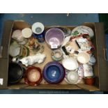 A quantity of china including Gaudy Welsh trio, oriental plates, Dartmouth vase, Silver Jubilee mug,