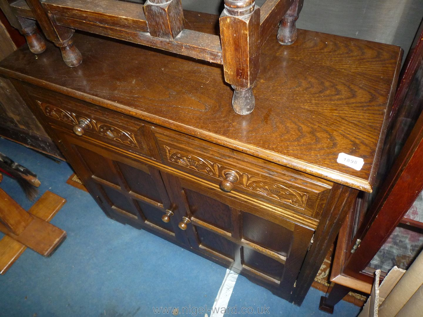 A compact Old Charm/Priory style dark Oak Sideboard of compact size having two frieze drawers and a - Image 2 of 2