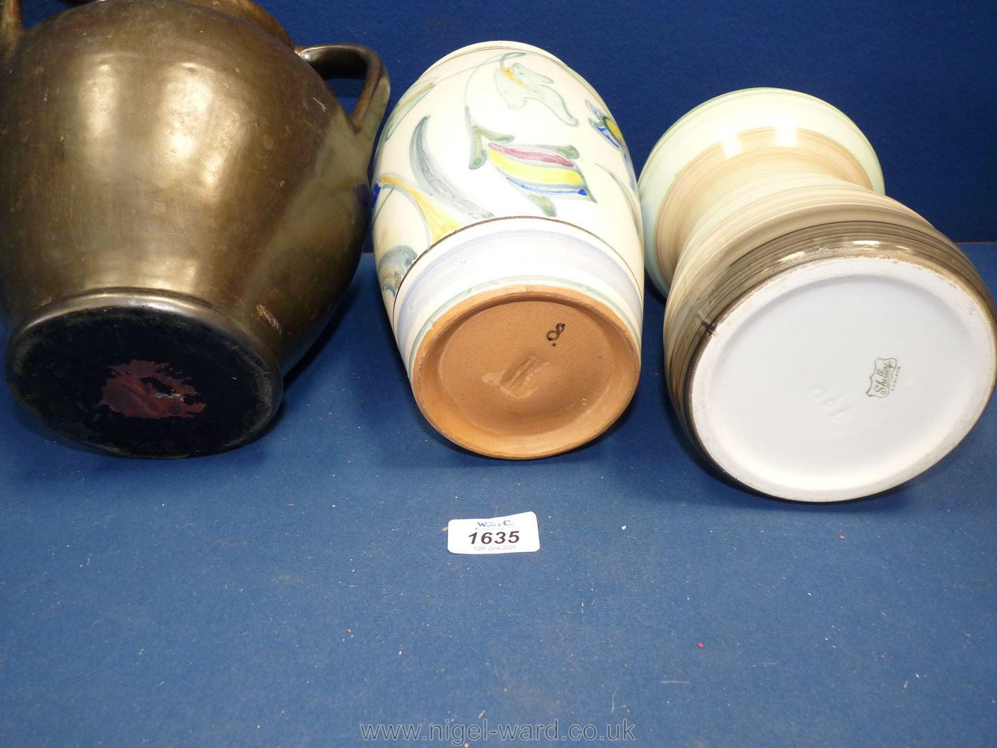 Three vases including Collard Honiton, Shelley and triple handled with metallic finish. - Image 2 of 2