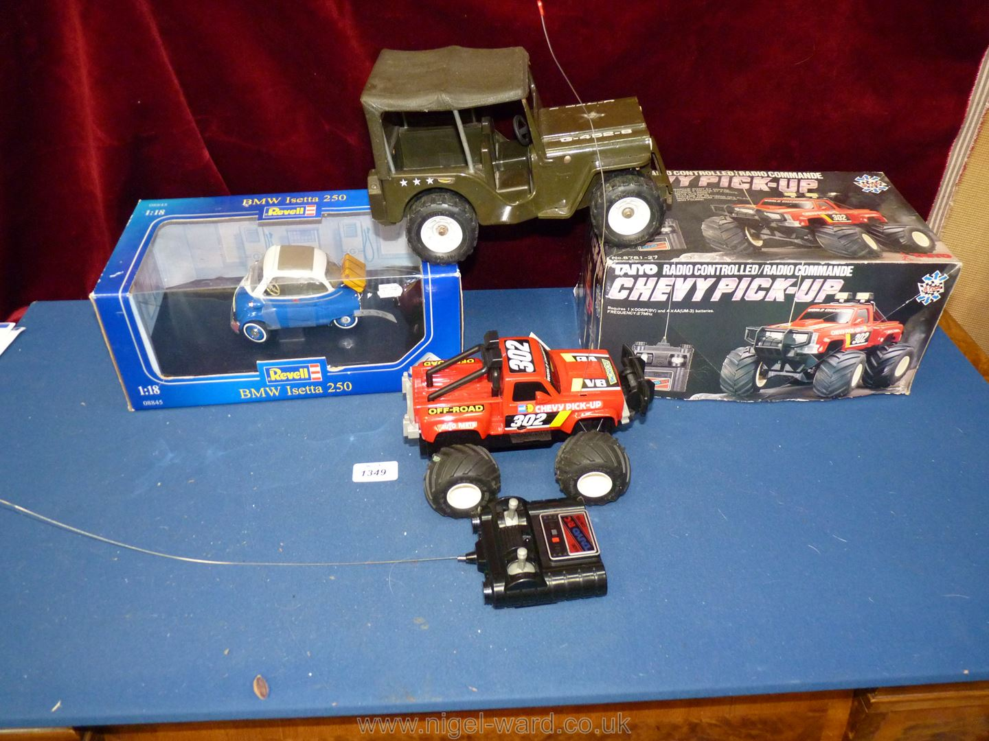 Three large toy vehicles (two boxed) comprising BMW Isetta, Chevy pick-up and military jeep.