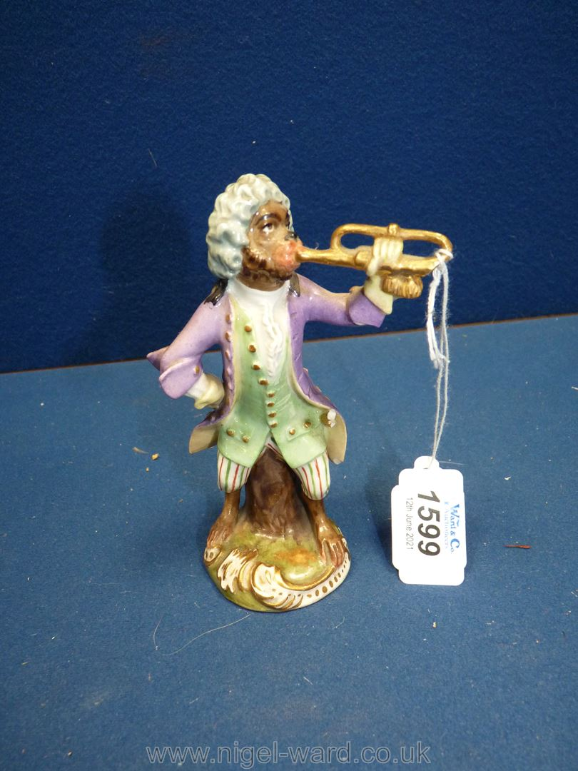 A 19th c. Vienna porcelain 'Monkey band' figurine after the 18th c.