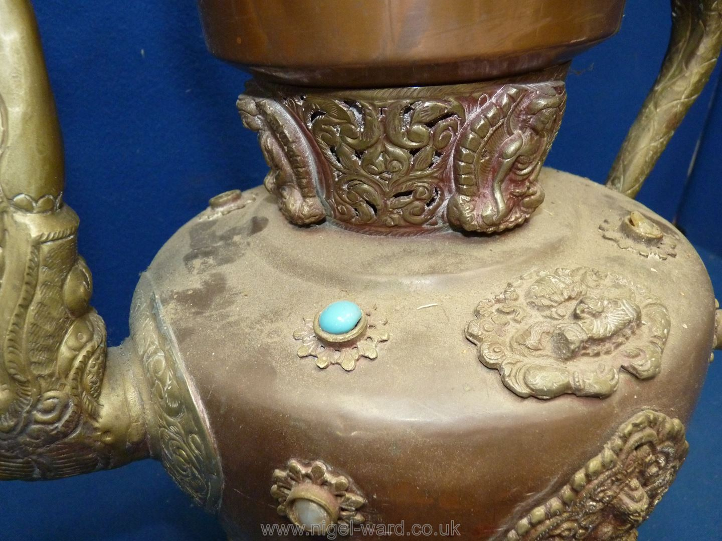A Tibetan copper and brass ceremonial Dragon ewer with dragon handles and spout, - Image 3 of 9