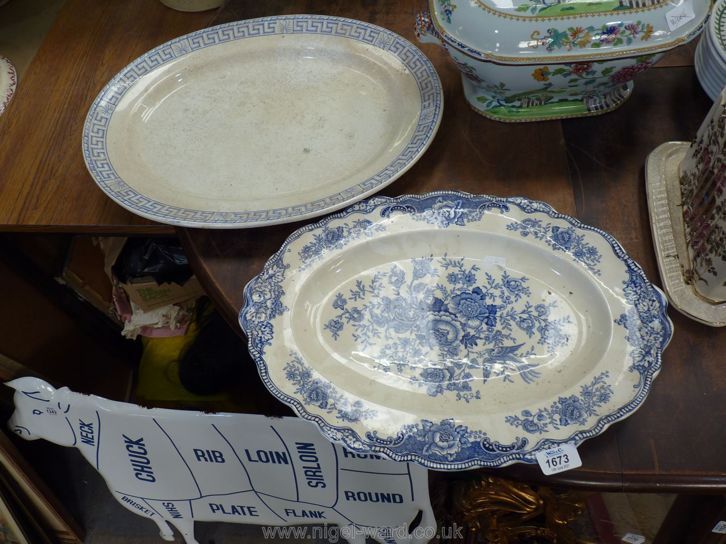 Two large meat plates : Bristol and Crown Ducal.
