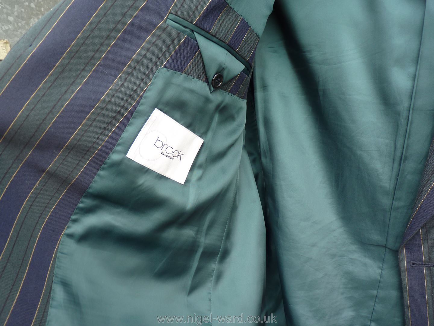 A gent's Brook navy and green stripe Blazer with green silk lining with navy enamel buttons, - Image 2 of 2