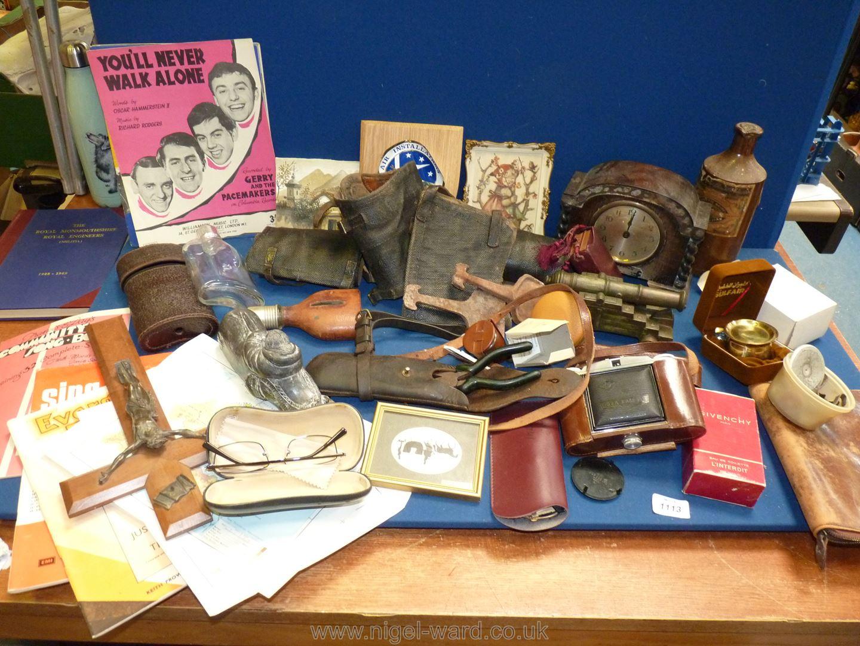 A quantity of miscellanea including gaiters, hip flasks, Agfa camera, music sheets, clock (a/f.