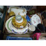 A good quantity of china including sandwich set, Adams tankard, Royal Worcester pin dish,