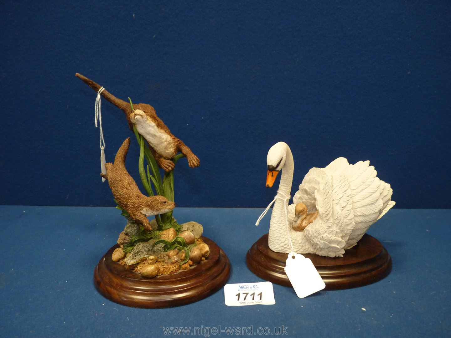 A Country Artists figure of swan and otters (small chip to ear). - Image 2 of 2