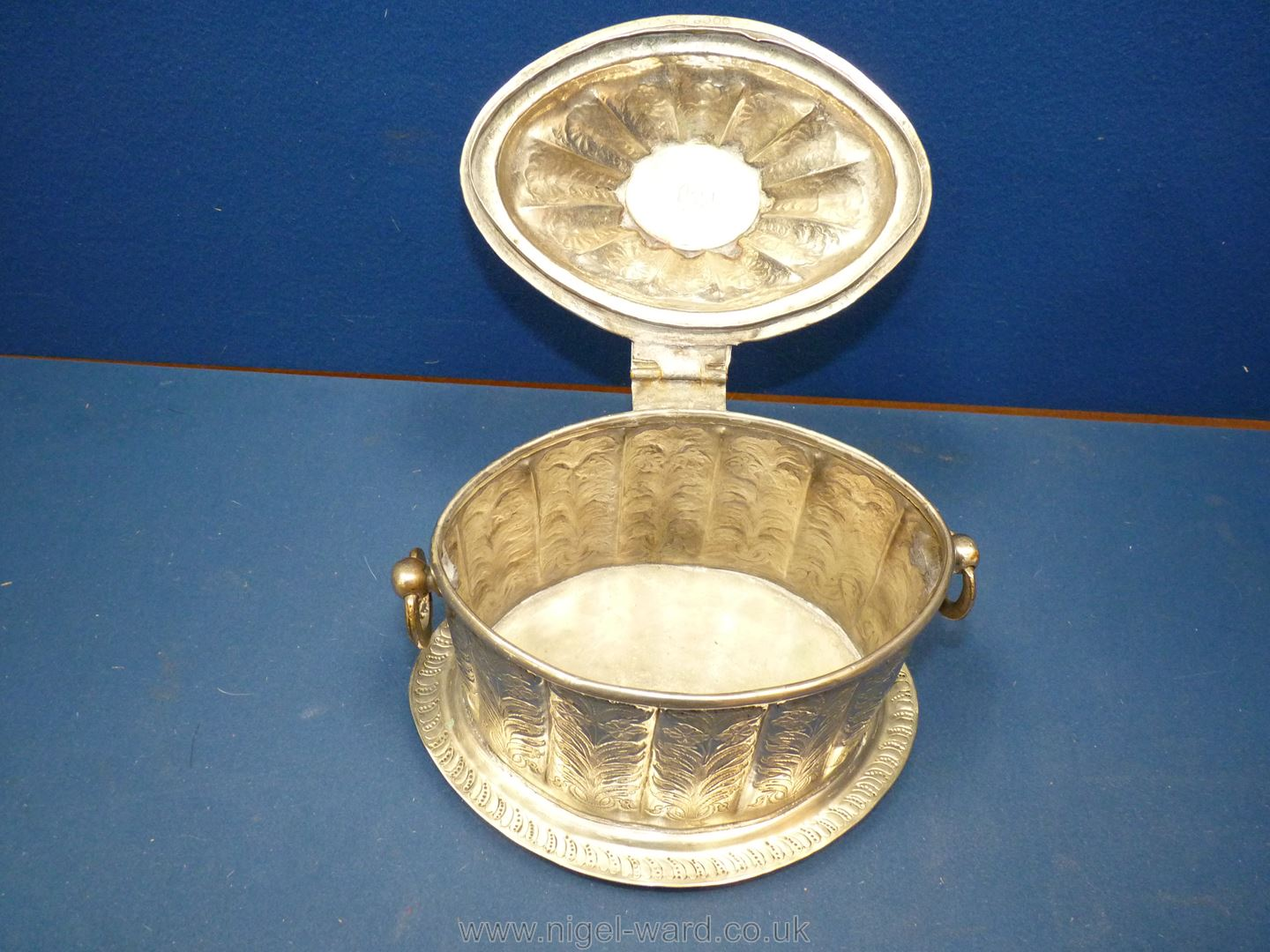 An Ottoman white metal tea caddy or box engraved with floral design, - Image 2 of 6