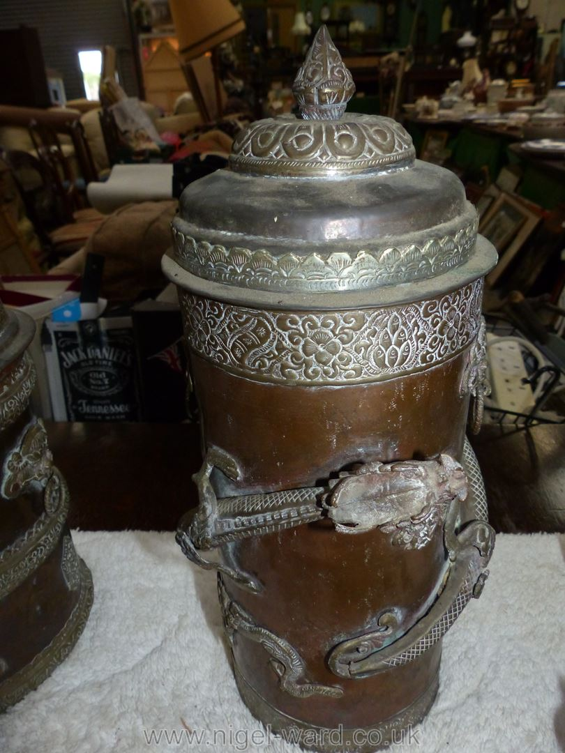 A large Tibetan brass and copper ceremonial canister with brass dragon wrapped around the outside - Image 2 of 5