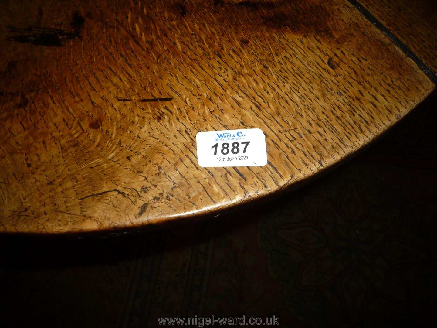 A Georgian Oak peg-joined Cricket Table standing on three tapering legs united by a triangular - Image 3 of 10