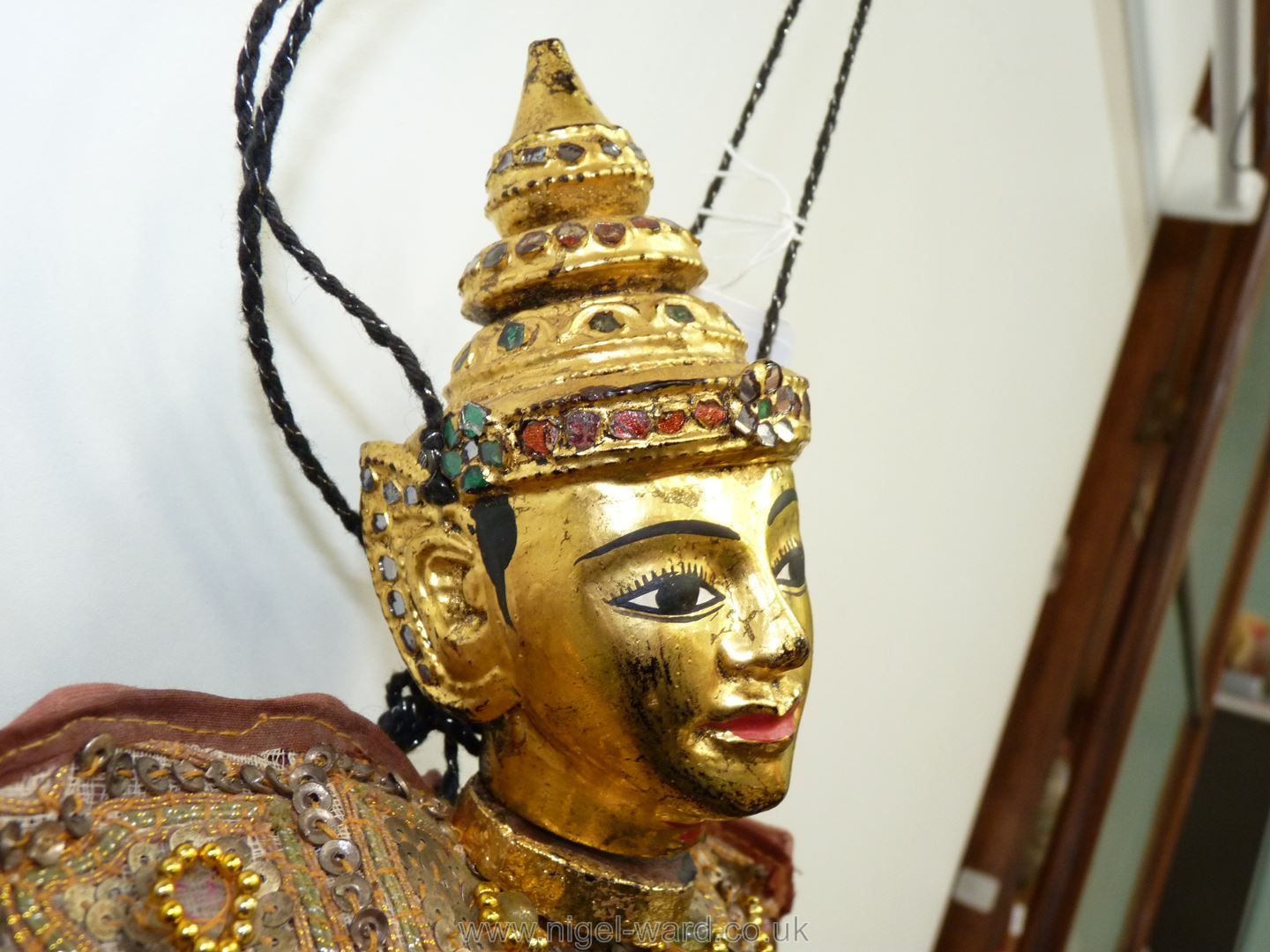 An ornate Thai Marionette richly decorated with sequins, 16 1/2'' tall approx. - Image 4 of 7