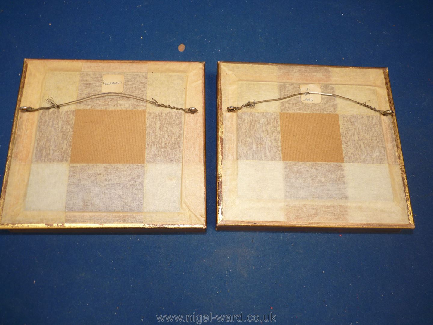 Two gilt framed ceramic painted Plaques, signed E. - Image 2 of 2