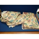 """Two lengths of fabric by Rectella fabrics: one with floral pattern, 140"""" x 58"""" and the other,"""