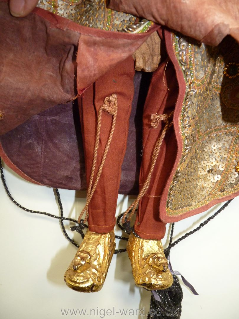 An ornate Thai Marionette richly decorated with sequins, 16 1/2'' tall approx. - Image 7 of 7