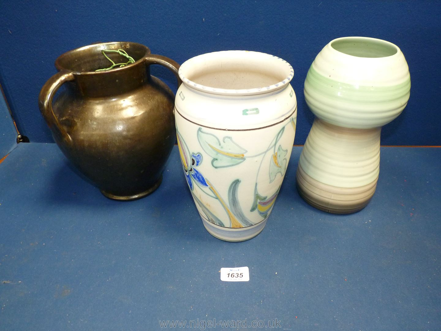 Three vases including Collard Honiton, Shelley and triple handled with metallic finish.