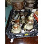 A tray of Indian, copper/brass teapots, small mugs, jugs, with fish shape handles.