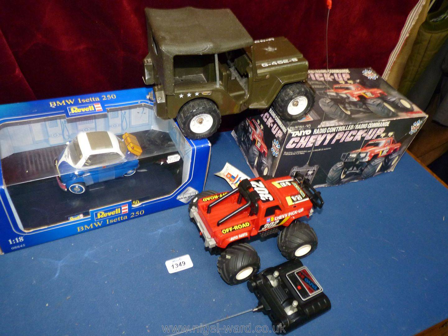 Three large toy vehicles (two boxed) comprising BMW Isetta, Chevy pick-up and military jeep. - Image 2 of 2